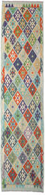 Kelim Afghan Old Style Vloerkleed 90X395 Echt Oosters Handgeweven Tapijtloper Lichtgrijs/Donkergrijs (Wol, Afghanistan)