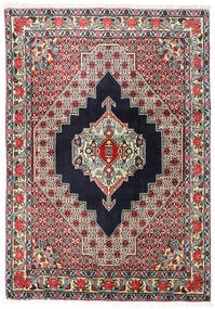 Senneh Vloerkleed 123X172 Echt Oosters Handgeknoopt Zwart/Donkerbeige (Wol, Perzië/Iran)