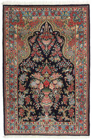 Ghom Kork/Zijde Vloerkleed 104X157 Echt Oosters Handgeknoopt Donkerblauw/Donkerrood (Wol/Zijde, Perzië/Iran)