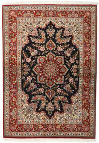 Ghom Kork/Zijde Vloerkleed 143X203 Echt Oosters Handgeknoopt Donkerbruin/Lichtbruin (Wol/Zijde, Perzië/Iran)