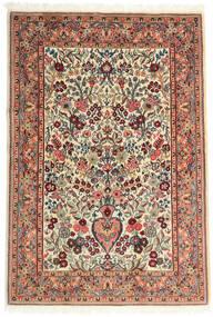 Ghom Kork/Zijde Vloerkleed 108X157 Echt Oosters Handgeknoopt Beige/Donkerbruin (Wol/Zijde, Perzië/Iran)