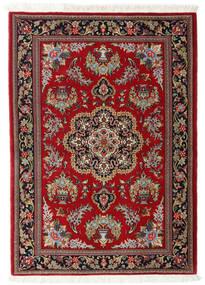 Ghom Kork/Zijde Vloerkleed 102X143 Echt Oosters Handgeknoopt Donkerrood/Lichtbruin (Wol/Zijde, Perzië/Iran)