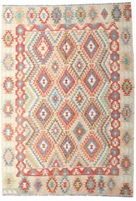 Kelim Afghan Old Style Vloerkleed 202X287 Echt Oosters Handgeweven Donkerbeige/Beige (Wol, Afghanistan)