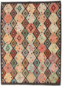 Kelim Afghan Old Style Vloerkleed 216X291 Echt Oosters Handgeweven Donkerbruin/Donkerbeige (Wol, Afghanistan)