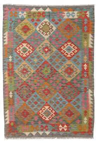 Kelim Afghan Old Style Vloerkleed 123X176 Echt Oosters Handgeweven Donkergrijs/Donkerrood (Wol, Afghanistan)