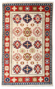Kazak Vloerkleed 95X154 Echt Oosters Handgeknoopt Beige/Donkerbruin (Wol, Afghanistan)