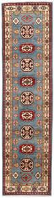 Kazak Vloerkleed 81X309 Echt Oosters Handgeknoopt Tapijtloper Donkerrood/Blauw (Wol, Afghanistan)