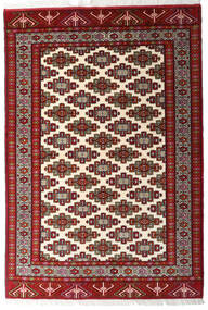 Turkaman Vloerkleed 140X203 Echt Oosters Handgeknoopt Donkerrood/Beige (Wol, Perzië/Iran)