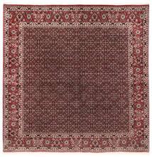 Bidjar Met Zijde Vloerkleed 202X206 Echt Oosters Handgeknoopt Vierkant Donkerrood/Donkerbruin (Wol/Zijde, Perzië/Iran)