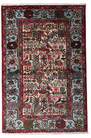 Hamadan Vloerkleed 100X150 Echt Oosters Handgeknoopt Zwart/Donkerrood (Wol, Perzië/Iran)