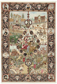 Tabriz 50 Raj Vloerkleed 150X219 Echt Oosters Handgeknoopt Bruin/Lichtbruin (Wol/Zijde, Perzië/Iran)