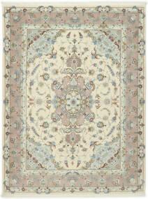 Tabriz 50 Raj Met Zijde Vloerkleed 155X203 Echt Oosters Handgeknoopt Lichtgrijs/Beige (Wol/Zijde, Perzië/Iran)