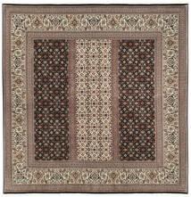 Tabriz 50 Raj Met Zijde Vloerkleed 198X205 Echt Oosters Handgeknoopt Vierkant Donkerbruin/Lichtgrijs (Wol/Zijde, Perzië/Iran)