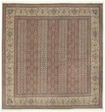Tabriz 50 Raj Met Zijde Vloerkleed 200X203 Echt Oosters Handgeknoopt Vierkant Lichtgrijs/Bruin (Wol/Zijde, Perzië/Iran)