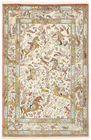 Ghom Zijde Vloerkleed 132X203 Echt Oosters Handgeknoopt Beige/Donkerbeige (Zijde, Perzië/Iran)