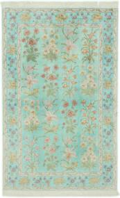 Ghom Zijde Vloerkleed 102X160 Echt Oosters Handgeknoopt Pastel Groen/Lichtgrijs (Zijde, Perzië/Iran)