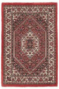 Bidjar Met Zijde Vloerkleed 60X90 Echt Oosters Handgeknoopt Donkerrood/Beige (Wol/Zijde, Perzië/Iran)