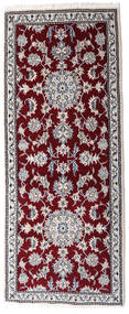 Nain Vloerkleed 80X200 Echt Oosters Handgeknoopt Tapijtloper Donkerrood/Wit/Creme (Wol, Perzië/Iran)