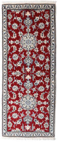 Nain Vloerkleed 78X198 Echt Oosters Handgeknoopt Tapijtloper Donkerrood/Lichtgrijs (Wol, Perzië/Iran)