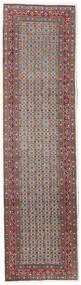 Moud Vloerkleed 80X292 Echt Oosters Handgeknoopt Tapijtloper Donkerrood/Lichtgrijs (Wol/Zijde, Perzië/Iran)