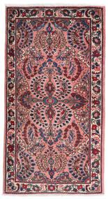 Sarough Vloerkleed 75X140 Echt Oosters Handgeknoopt Donkerpaars/Lichtroze (Wol, Perzië/Iran)