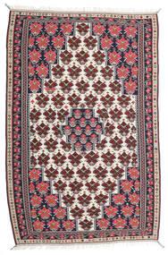 Kelim Senneh Vloerkleed 150X220 Echt Oosters Handgeweven Donkerpaars/Lichtgrijs (Wol, Perzië/Iran)