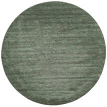 Handloom - Bosgroen Vloerkleed Ø 250 Modern Rond Donkergroen/Lichtgroen Groot (Wol, India)