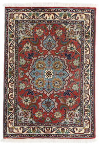 Tabriz 50 Raj Vloerkleed 62X90 Echt Oosters Handgeknoopt Donkerrood/Donkerbruin (Wol/Zijde, Perzië/Iran)