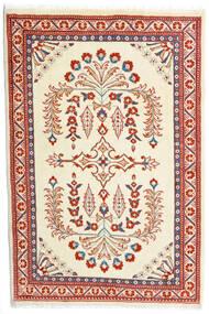 Sarough Vloerkleed 85X126 Echt Oosters Handgeknoopt Beige/Donkerrood (Wol, Perzië/Iran)
