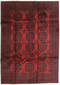 Afghan Vloerkleed 200X283 Echt Oosters Handgeknoopt Donkerrood/Zwart (Wol, Afghanistan)