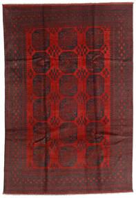 Afghan Vloerkleed 196X287 Echt Oosters Handgeknoopt Donkerrood/Zwart (Wol, Afghanistan)