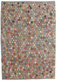 Kelim Afghan Old Style Vloerkleed 130X185 Echt Oosters Handgeweven Lichtgrijs/Donkergrijs (Wol, Afghanistan)