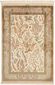 Ghom Zijde Vloerkleed 100X148 Echt Oosters Handgeknoopt Beige/Lichtbruin (Zijde, Perzië/Iran)