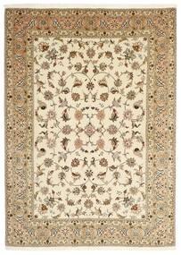 Tabriz 50 Raj Vloerkleed 147X206 Echt Oosters Handgeknoopt Beige/Lichtbruin (Wol/Zijde, Perzië/Iran)