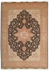 Tabriz 50 Raj Vloerkleed 248X347 Echt Oosters Handgeknoopt Bruin/Donkerbruin (Wol/Zijde, Perzië/Iran)