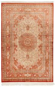 Ghom Zijde Vloerkleed 130X197 Echt Oosters Handgeknoopt Lichtbruin/Rood (Zijde, Perzië/Iran)