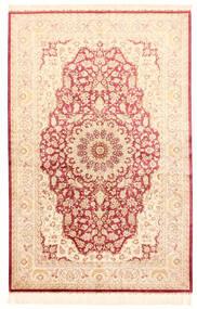 Ghom Zijde Vloerkleed 132X201 Echt Oosters Handgeknoopt Beige/Lichtroze (Zijde, Perzië/Iran)