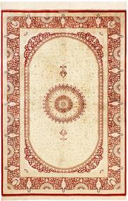 Ghom Zijde Vloerkleed 134X197 Echt Oosters Handgeknoopt Beige/Rood (Zijde, Perzië/Iran)