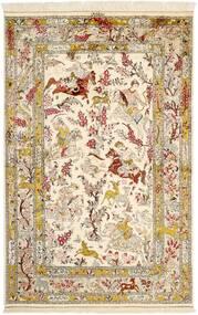 Ghom Zijde Vloerkleed 131X203 Echt Oosters Handgeknoopt Beige/Bruin (Zijde, Perzië/Iran)