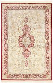 Ghom Zijde Vloerkleed 134X203 Echt Oosters Handgeknoopt Beige/Lichtroze (Zijde, Perzië/Iran)