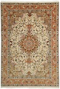 Tabriz 50 Raj Vloerkleed 253X358 Echt Oosters Handgeknoopt Bruin/Lichtbruin/Donkerbeige Groot (Wol/Zijde, Perzië/Iran)