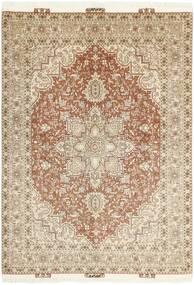 Tabriz 50 Raj Vloerkleed 145X212 Echt Oosters Handgeknoopt Beige/Lichtgrijs (Wol/Zijde, Perzië/Iran)