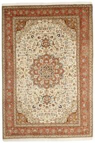 Tabriz 50 Raj Vloerkleed 202X305 Echt Oosters Handgeknoopt Bruin/Beige (Wol/Zijde, Perzië/Iran)