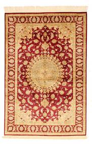 Ghom Zijde Vloerkleed 98X148 Echt Oosters Handgeknoopt Donkerbeige/Rood/Lichtbruin (Zijde, Perzië/Iran)
