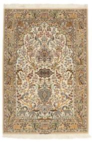 Isfahan Zijden Pool Vloerkleed 103X153 Echt Oosters Handgeknoopt Bruin/Beige (Wol/Zijde, Perzië/Iran)