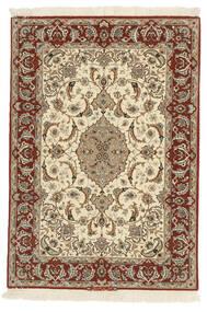Isfahan Zijden Pool Vloerkleed 110X158 Echt Oosters Handgeknoopt Bruin/Beige (Wol/Zijde, Perzië/Iran)