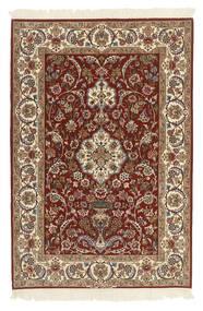 Isfahan Zijden Pool Vloerkleed 112X165 Echt Oosters Handgeknoopt Donkerbruin/Lichtbruin (Wol/Zijde, Perzië/Iran)