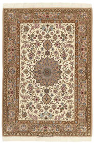 Isfahan Zijden Pool Vloerkleed 112X167 Echt Oosters Handgeknoopt Bruin/Beige (Wol/Zijde, Perzië/Iran)