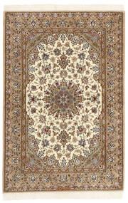 Isfahan Zijden Pool Vloerkleed 108X166 Echt Oosters Handgeknoopt Lichtbruin/Bruin (Wol/Zijde, Perzië/Iran)