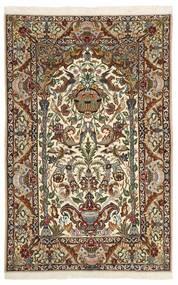 Isfahan Zijden Pool Vloerkleed 130X202 Echt Oosters Handgeknoopt Donkerbruin/Beige (Wol/Zijde, Perzië/Iran)